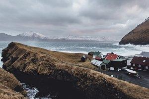 Colorful Village at stormy Coastline