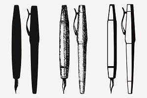 Fountain pen set vector SVG DXF PNG