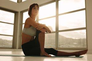 Woman practicing yoga workout