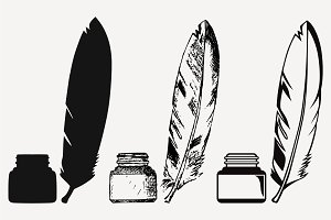 inkwell and feather, vector SVG