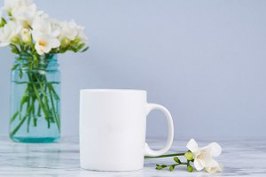 Mug Mockup with White Fressia