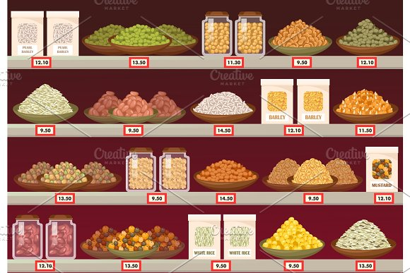 Stall or stand at store with barley and rice, mustard