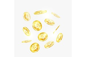 Golden coins with dollar signs for trading