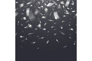 Paper confetti, falling serpentine on transparent