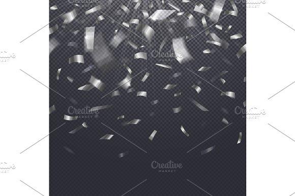 Paper Confetti Falling Serpentine On Transparent