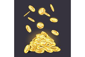 Golden coins pile or stack with falling cash
