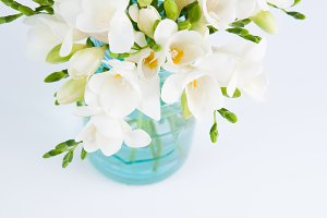 White Flowers in a Blue Jar