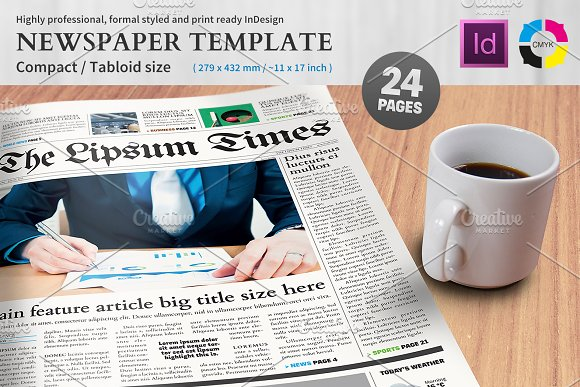 Newspaper Template Compacttabloid Magazine Templates Creative