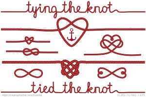 Tying the knot, red vector set