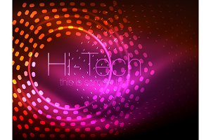 Glowing neon dotted shape abstract background, technology shiny concept design, magic space geometric background