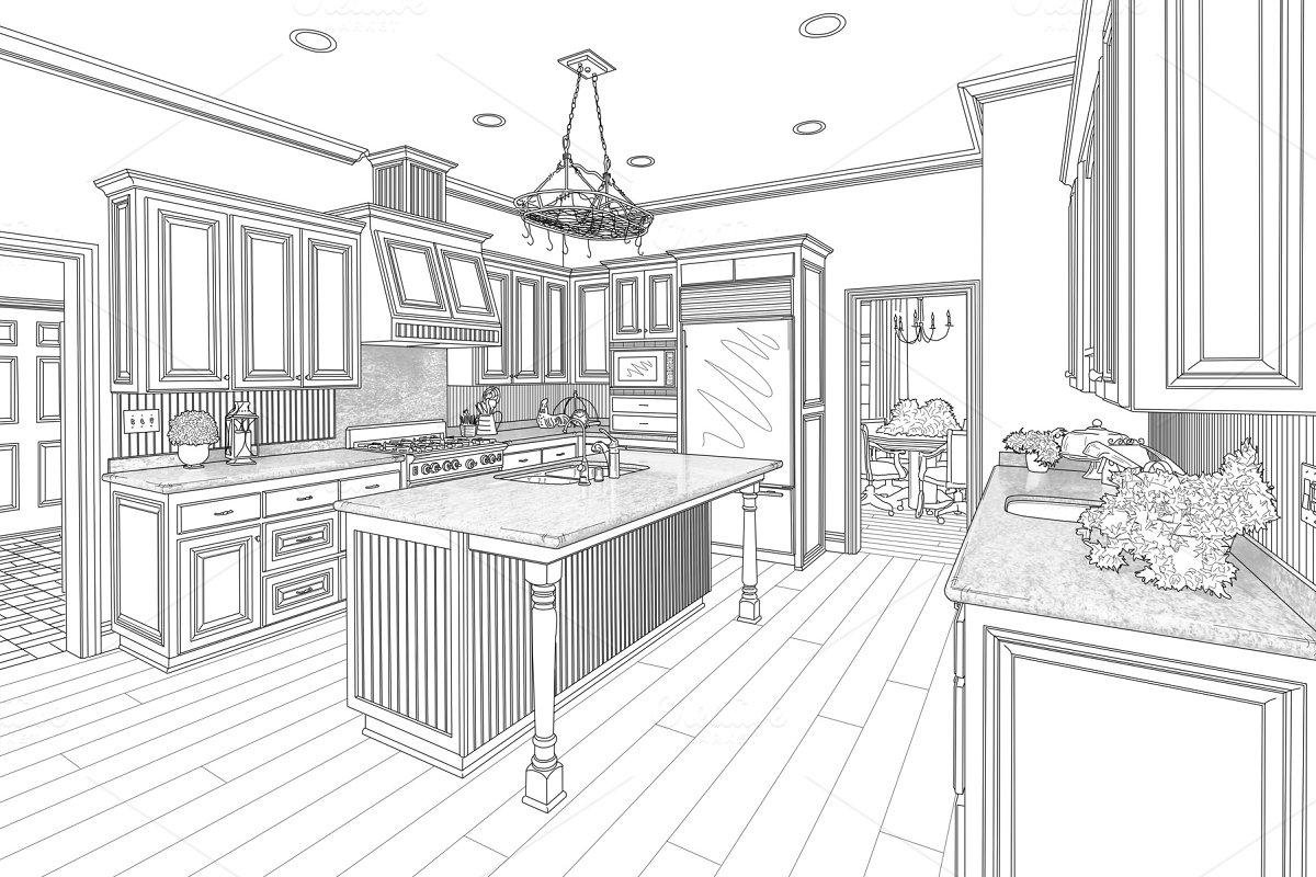 Custom Kitchen Design Drawing Illustrations Creative Market