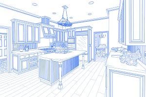 Custom Kitchen Design Blue Drawing