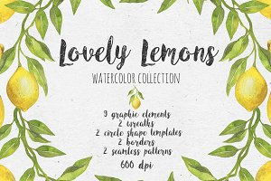 Lovely Lemons. Watercolor collection