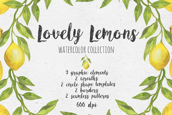 Lovely Lemons. Watercolor collectio…