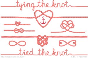 Tying the knot, coral vector set