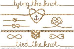 Tying the knot, beige vector set