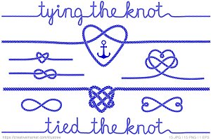 Tying the knot, blue vector set