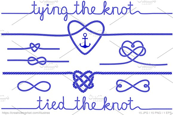 Tying The Knot Blue Vector Set