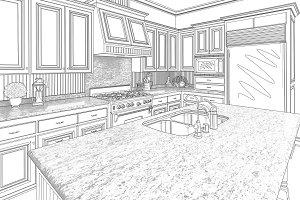 Custom Kitchen Drawing On White