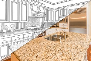 Custom Kitchen Drawing and Photo