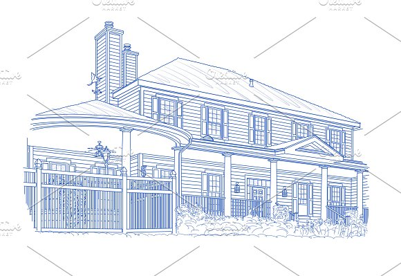 Blue House Drawing On White