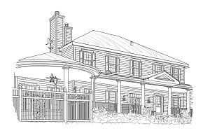 Custom Black House Drawing on White