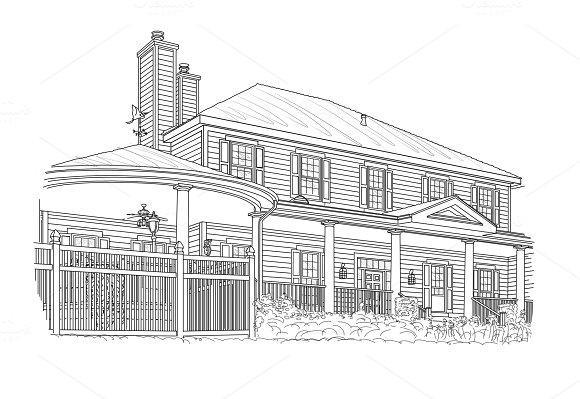 Custom Black House Drawing On White