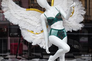 Underwear store window. White angel