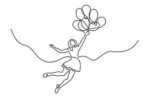Girl flying in air with balloons