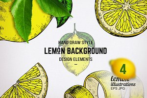 Lemons vector sketches