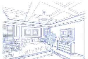 Bedroom Design Drawing on White