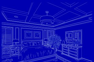 White Bedroom Design Drawing on Blue