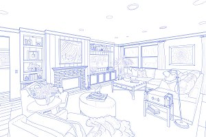 Blue Line Drawing of Room on White
