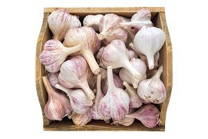 Garlic in wooden box