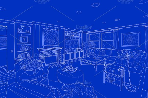 Detailed White Line Drawing On Blue