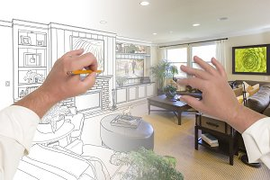 Hands Drawing Living Room/Photo