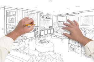 Hands Drawing Custom Living Room