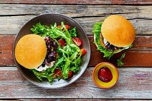 Burgers and salad
