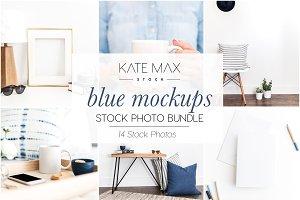 Blue Mockups Stock Photo Bundle