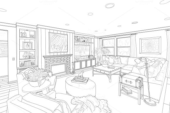 Line Drawing Of A Living Room