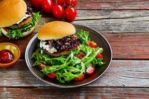 Burger and salad