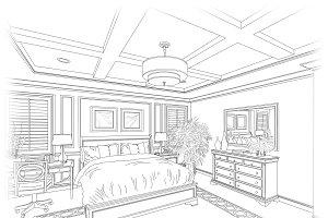Line Drawing of Bedroom