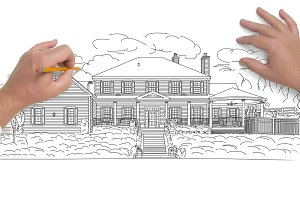 Hands Sketching House on White