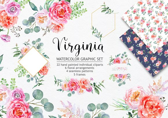 Virginia Watercolor Graphic Set