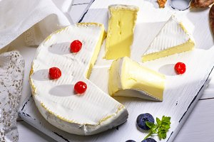 Camembert cheese sliced