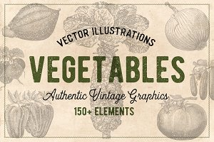 150 Vintage Vegetables (Vector)