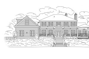 Black Line Drawing of House