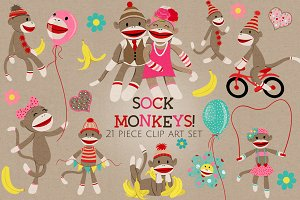Sock Monkeys Clip Art Set