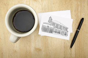 Coffee, Note Card with House Drawing