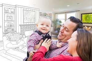 Young Family Over Room Drawing